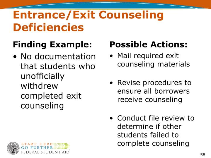 Entrance/Exit Counseling Deficiencies