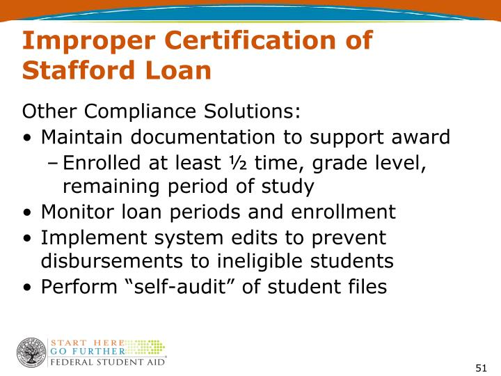 Improper Certification of Stafford Loan