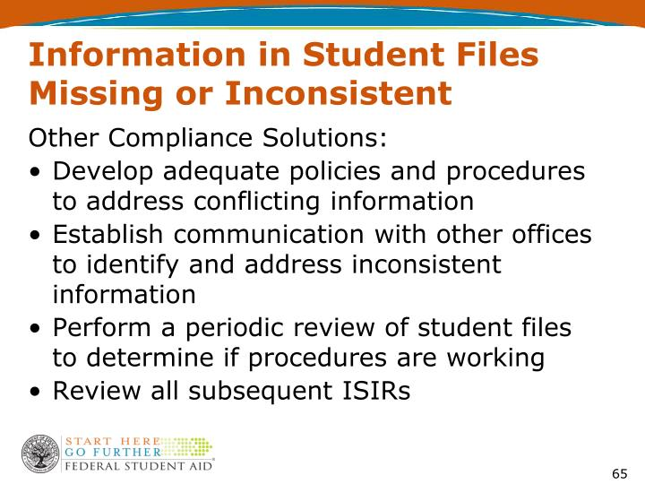 Information in Student Files Missing or Inconsistent