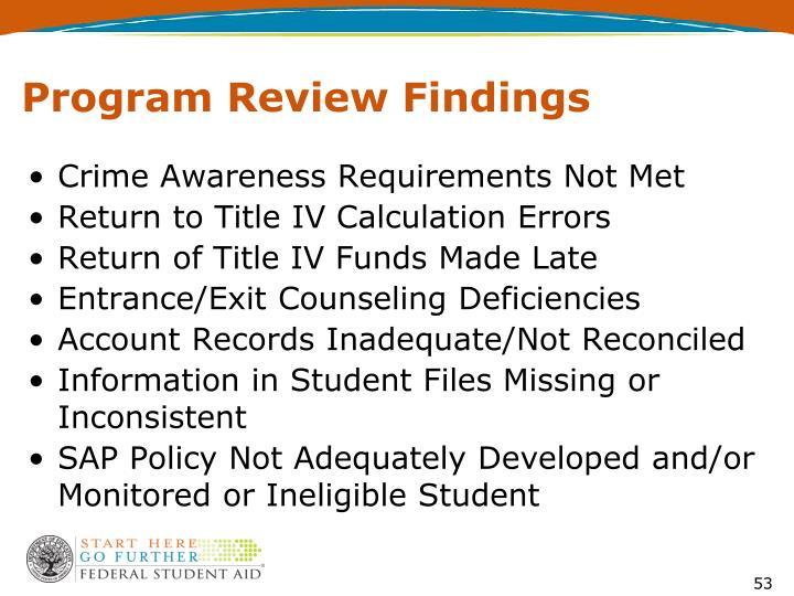 Program Review Findings