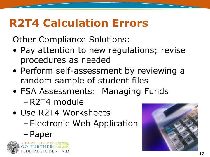 R2T4 Calculation Errors