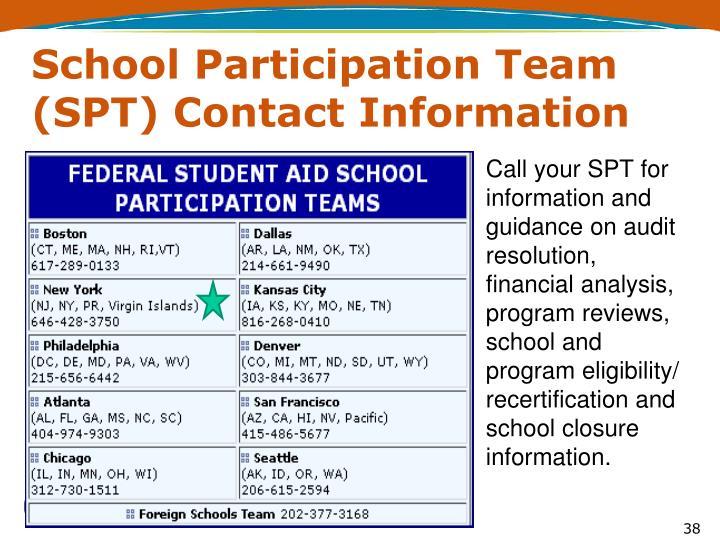 School Participation Team (SPT) Contact Information