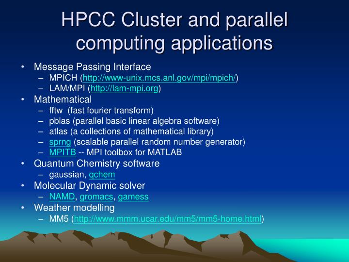 HPCC Cluster and parallel computing applications