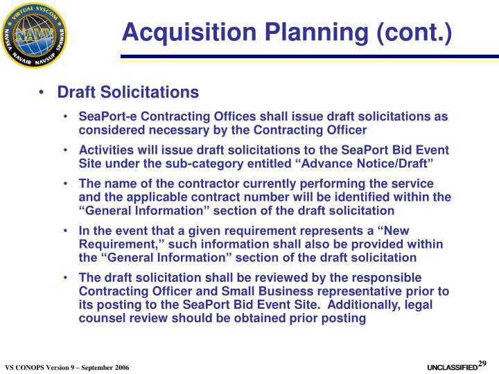 Acquisition Planning (cont.)