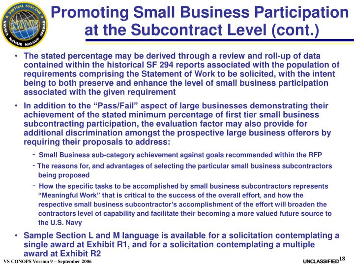 Promoting Small Business Participation
