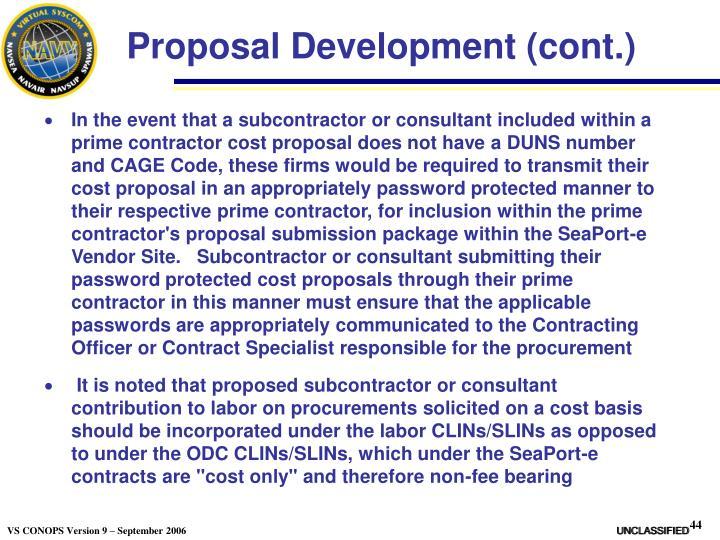 Proposal Development (cont.)