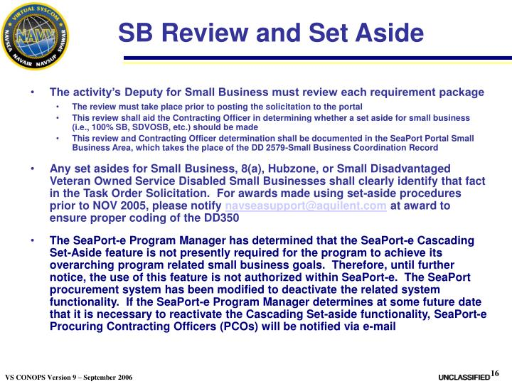 SB Review and Set Aside