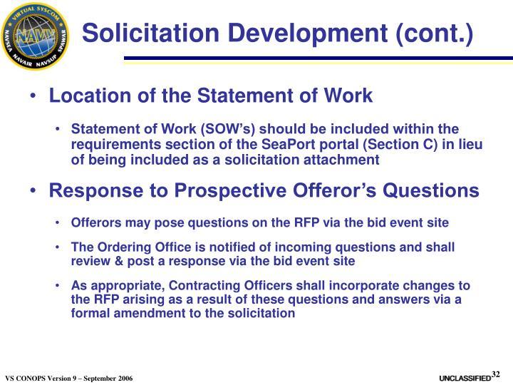 Solicitation Development (cont.)