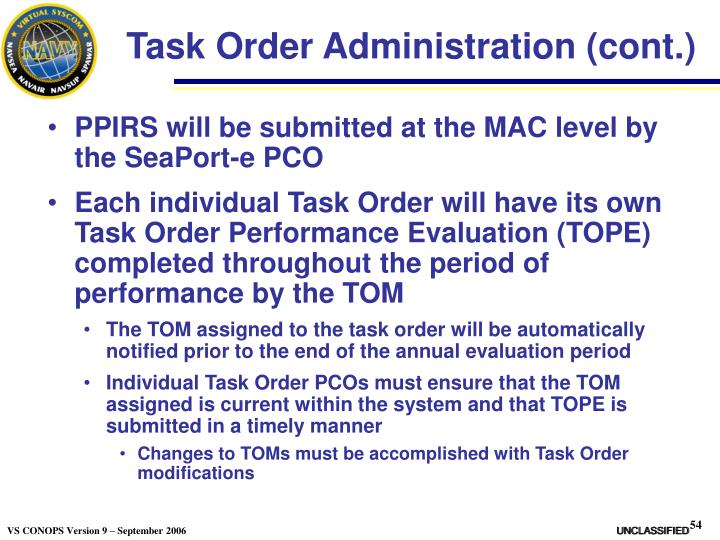Task Order Administration (cont.)
