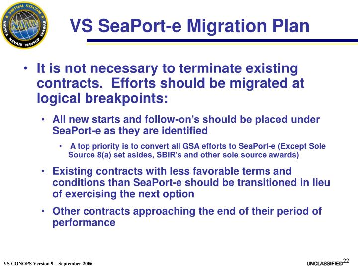 VS SeaPort-e Migration Plan