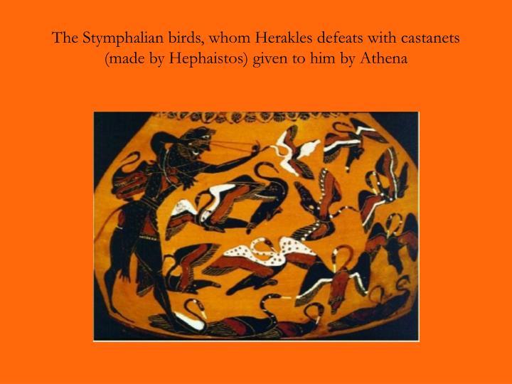 The Stymphalian birds, whom Herakles defeats with castanets (made by Hephaistos) given to him by Athena