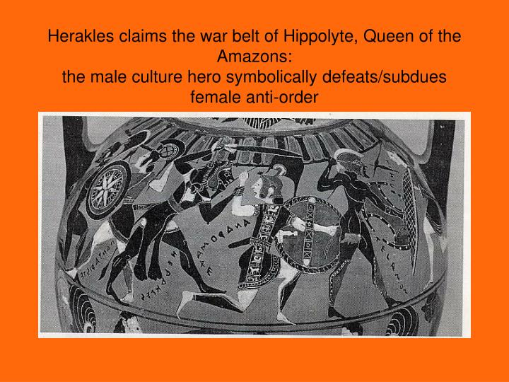Herakles claims the war belt of Hippolyte, Queen of the Amazons: