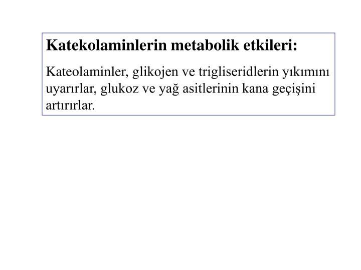 Katekolaminlerin metabolik etkileri: