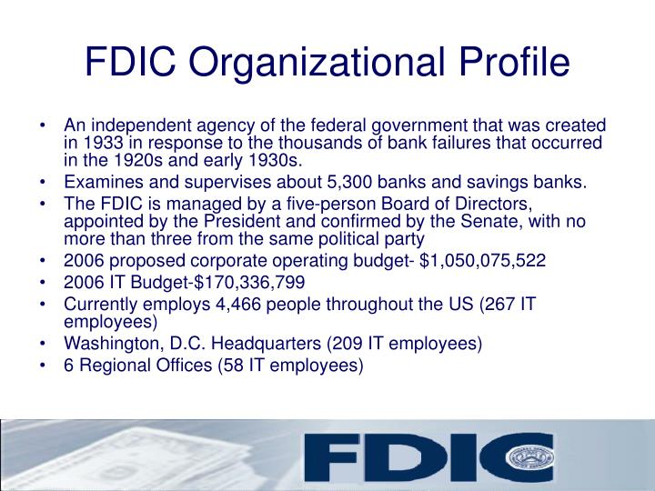 Fdic organizational profile