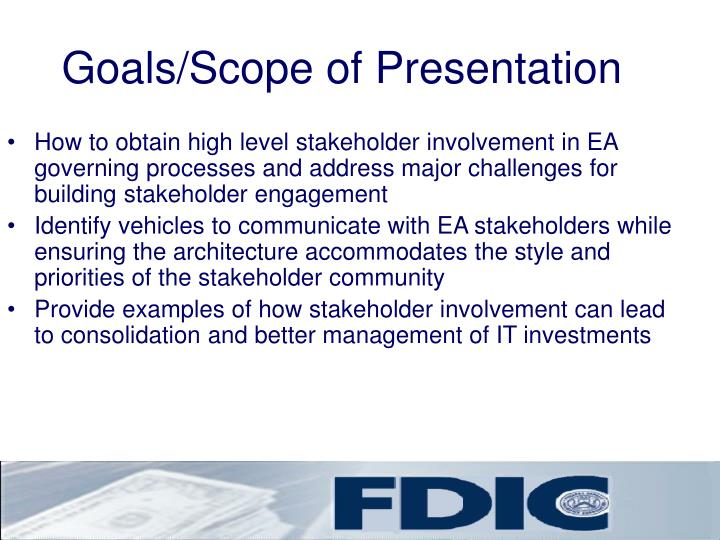 Goals scope of presentation
