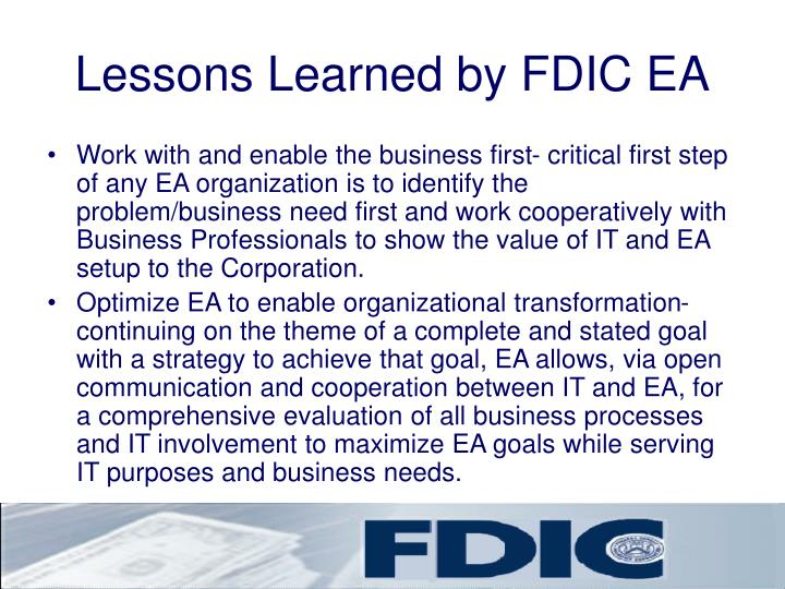 Lessons Learned by FDIC EA