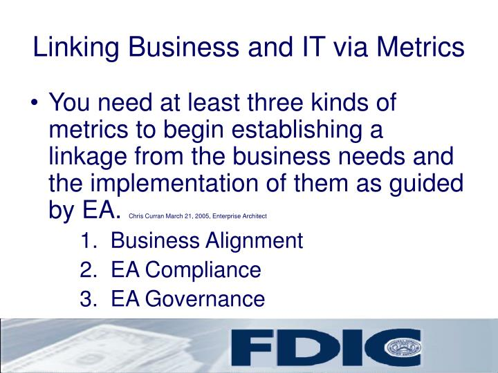 Linking Business and IT via Metrics