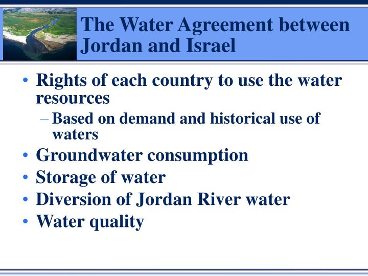 The Water Agreement between Jordan and Israel