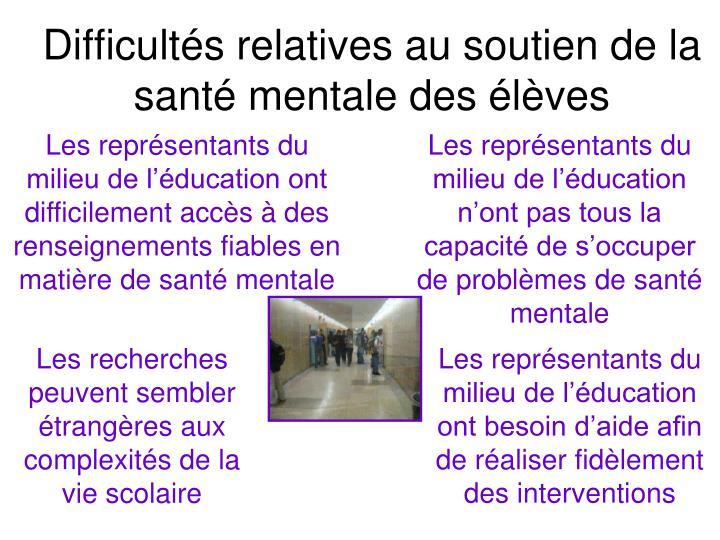 Difficultés relatives au soutien de la santé mentale des élèves
