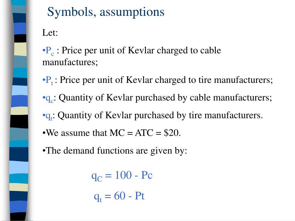 Symbols, assumptions