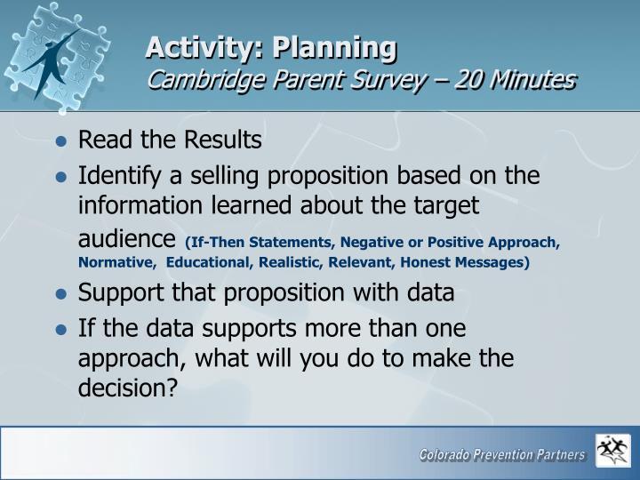 Activity: Planning
