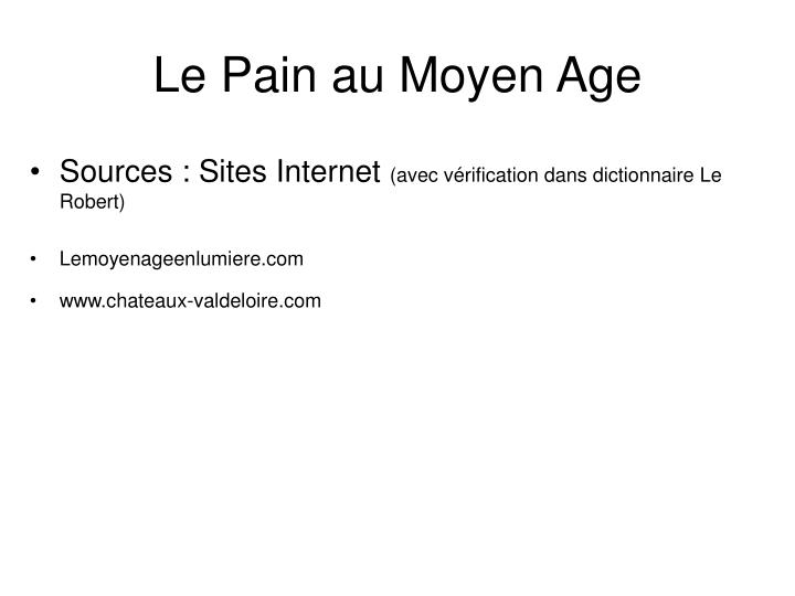 Le Pain au Moyen Age