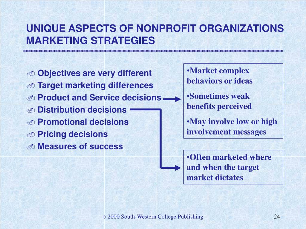 UNIQUE ASPECTS OF NONPROFIT ORGANIZATIONS MARKETING STRATEGIES