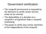 government certification