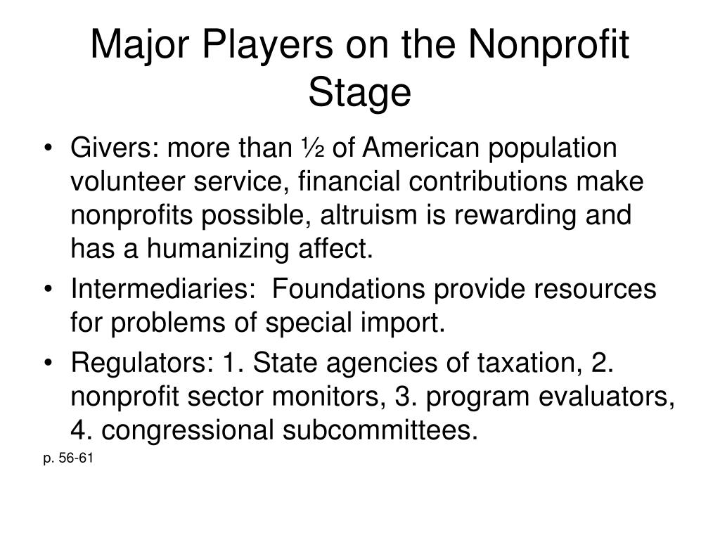 Major Players on the Nonprofit Stage