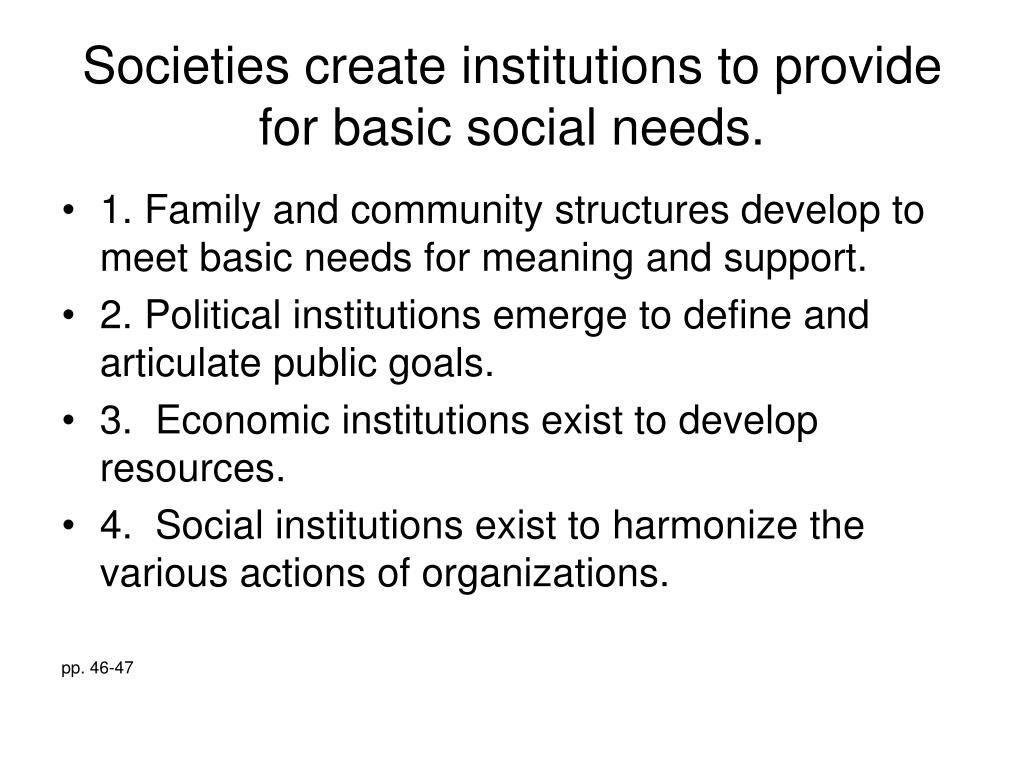 Societies create institutions to provide for basic social needs.