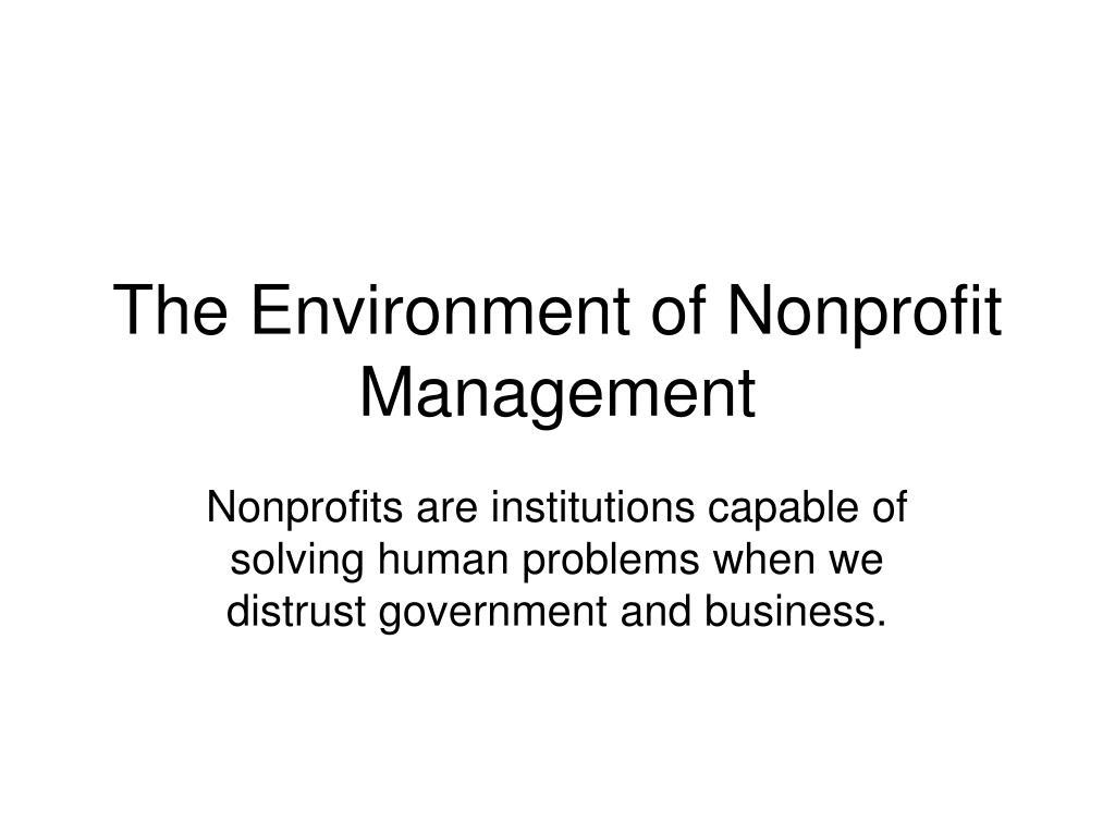 The Environment of Nonprofit Management