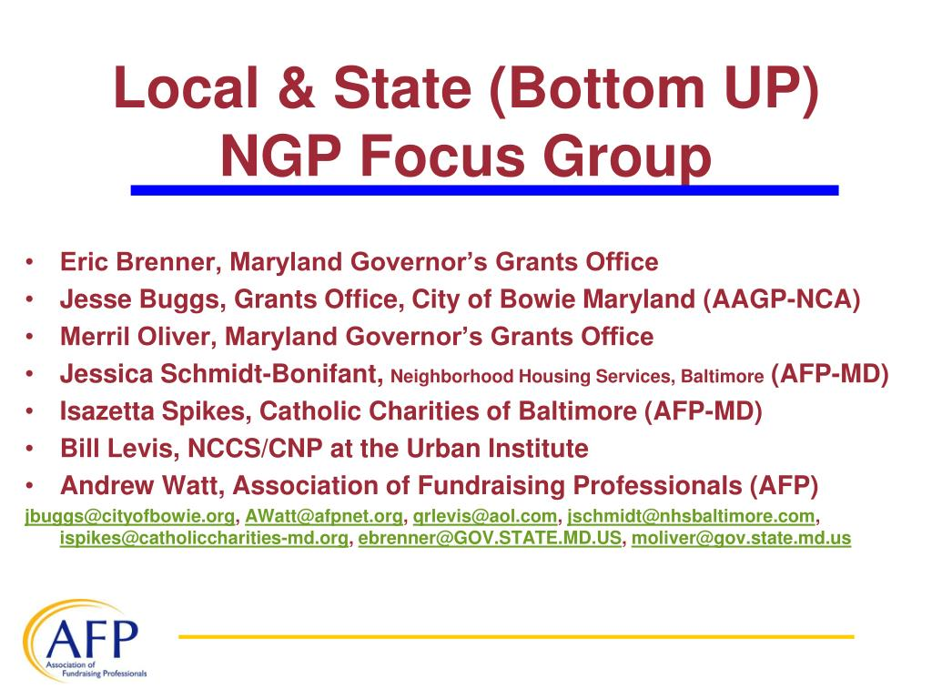 Local & State (Bottom UP) NGP Focus Group