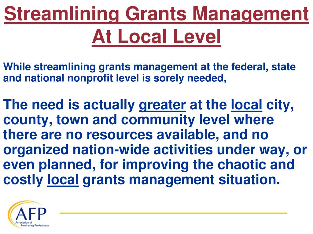 Streamlining Grants Management At Local Level