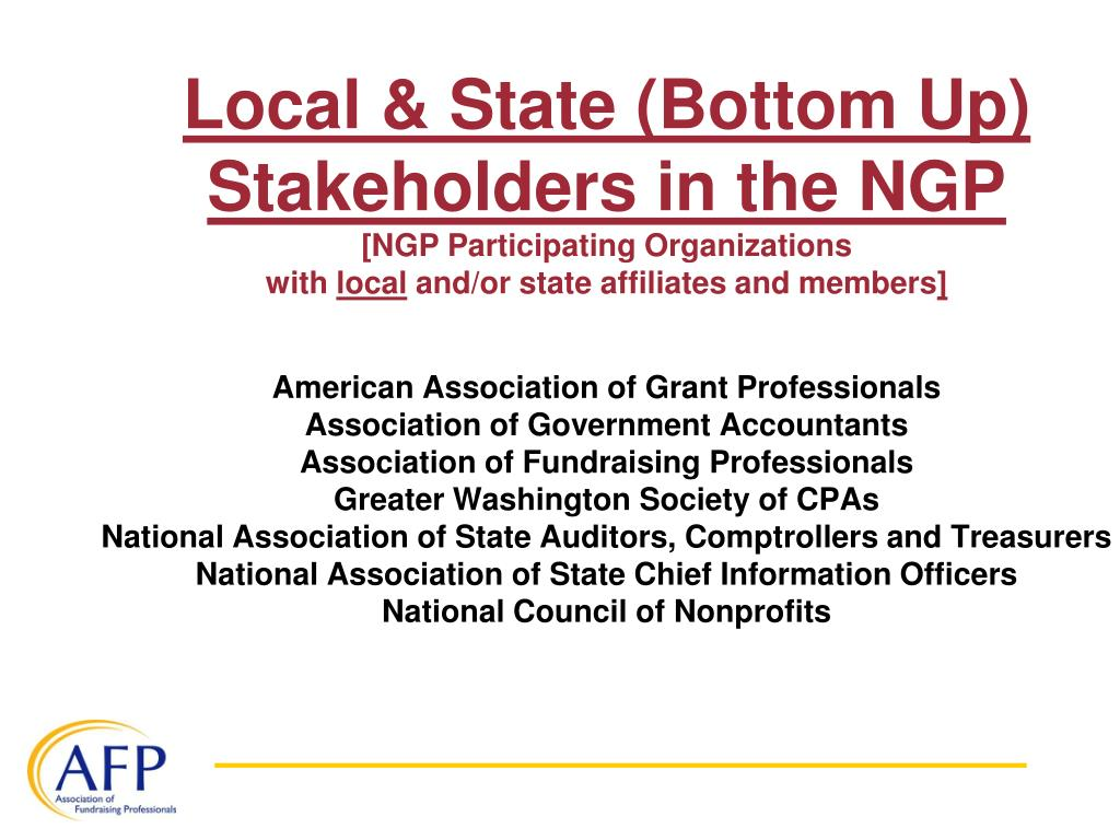 Local & State (Bottom Up) Stakeholders in the NGP