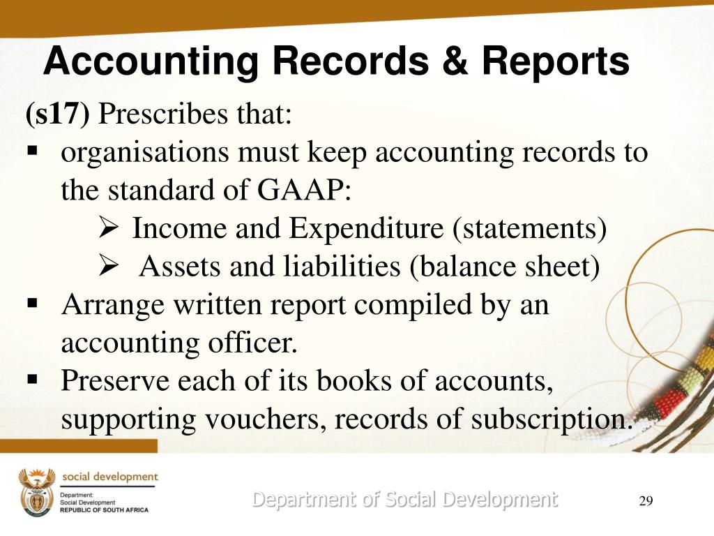 Accounting Records & Reports