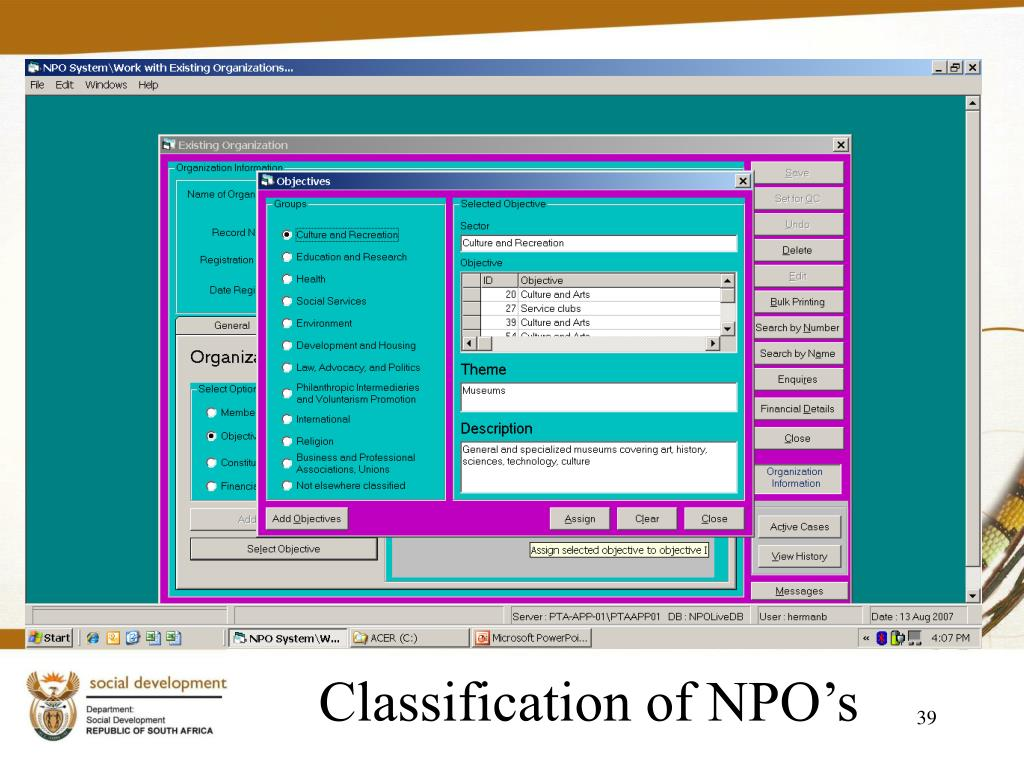 Classification of NPO's