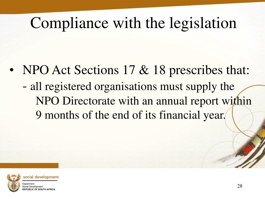 Compliance with the legislation