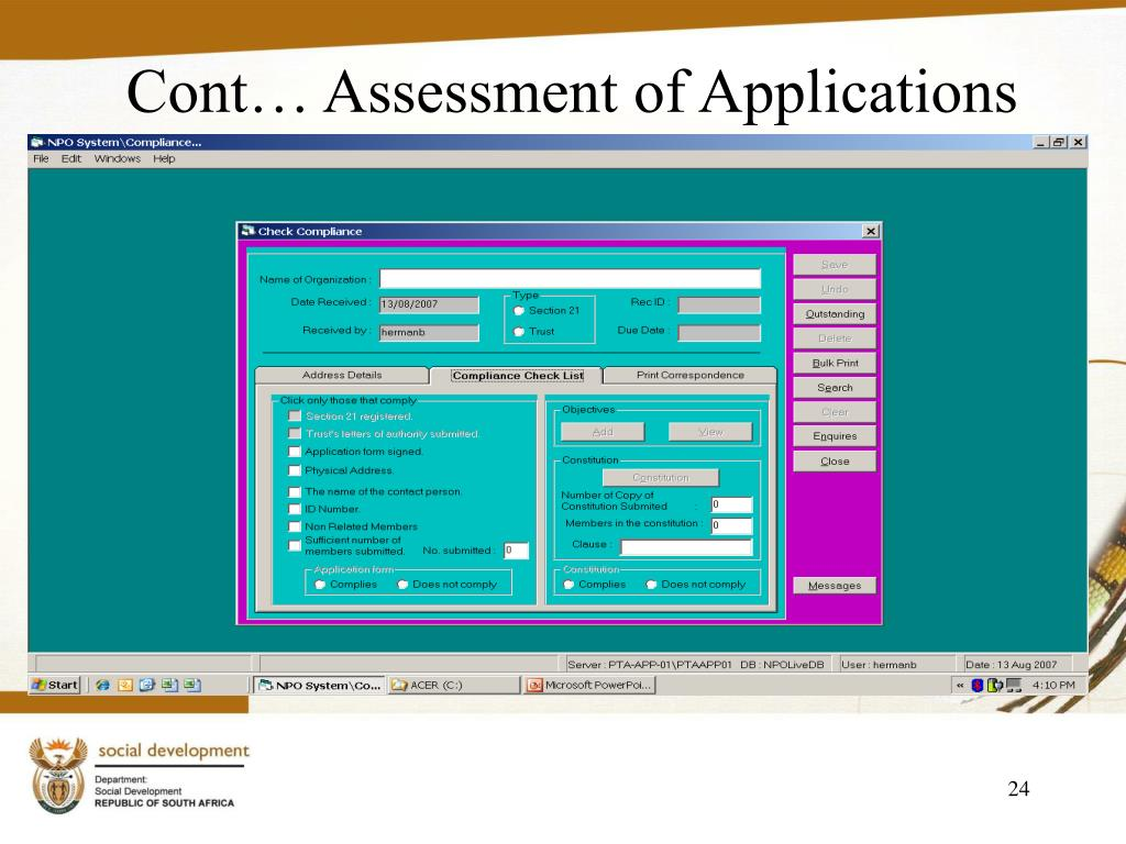 Cont… Assessment of Applications