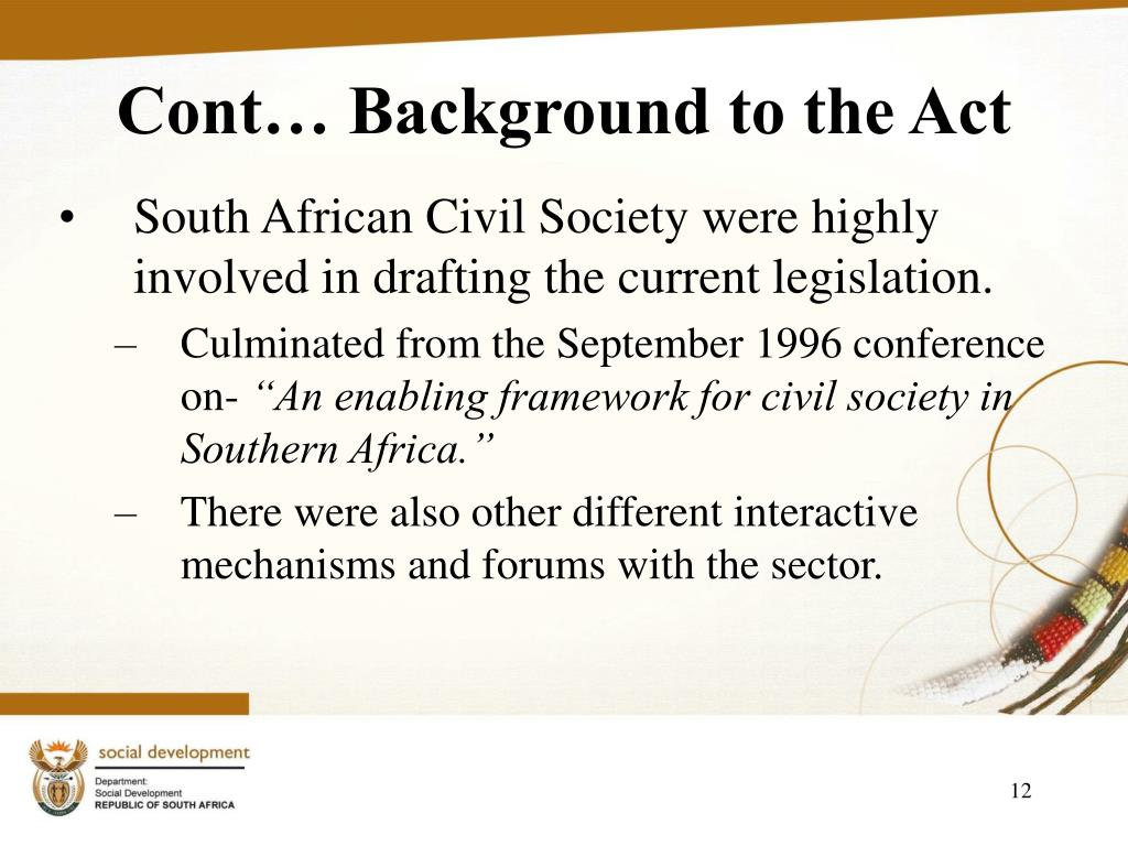 Cont… Background to the Act
