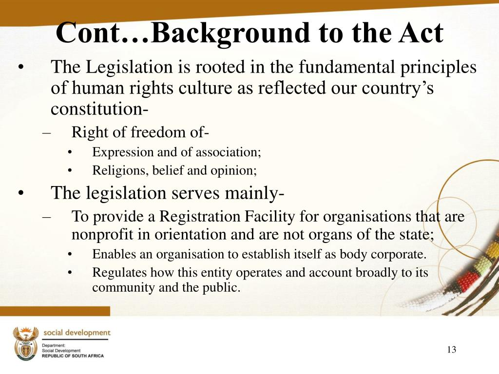 Cont…Background to the Act