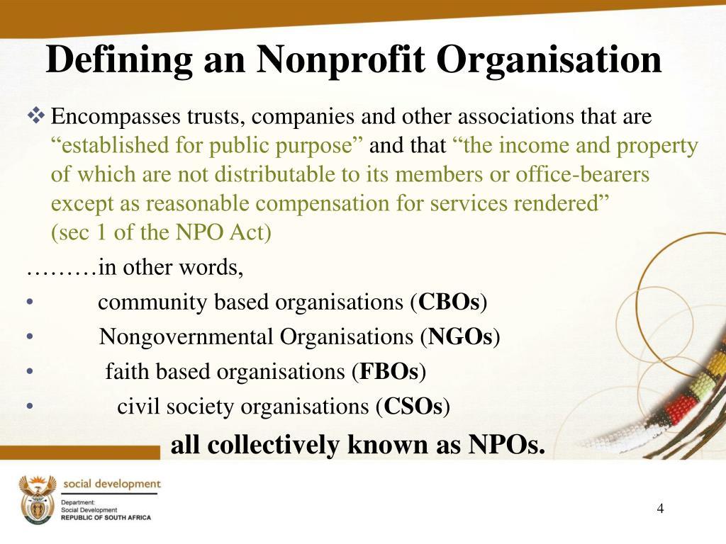 Defining an Nonprofit Organisation