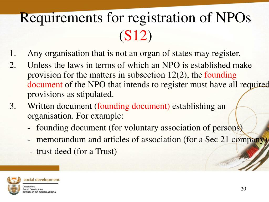 Requirements for registration of NPOs (