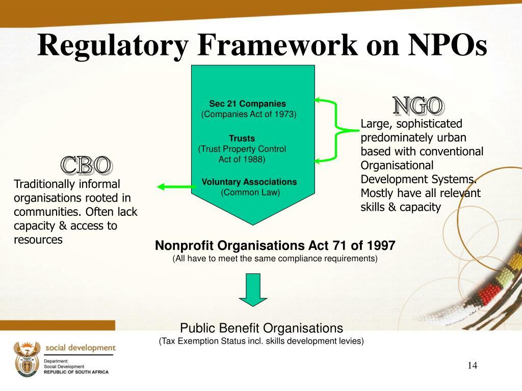 Regulatory Framework on NPOs