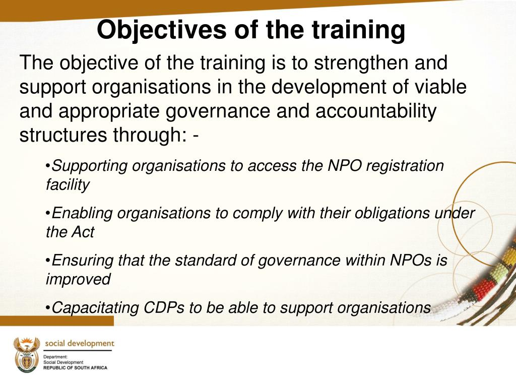 Objectives of the training
