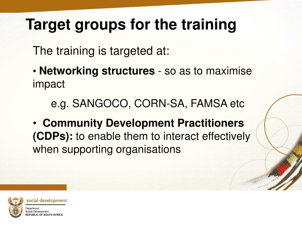 Target groups for the training