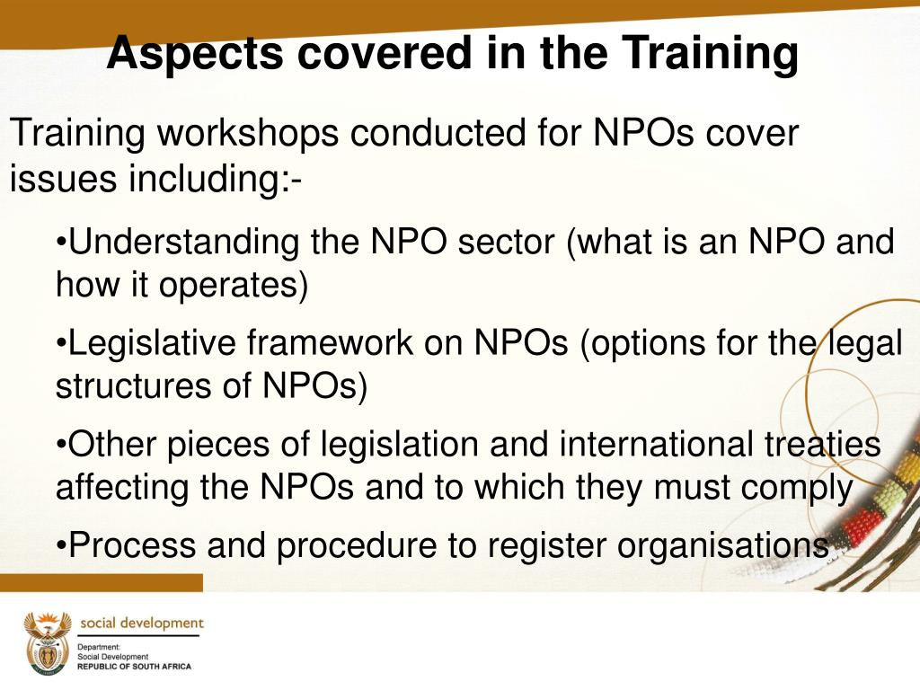 Aspects covered in the Training