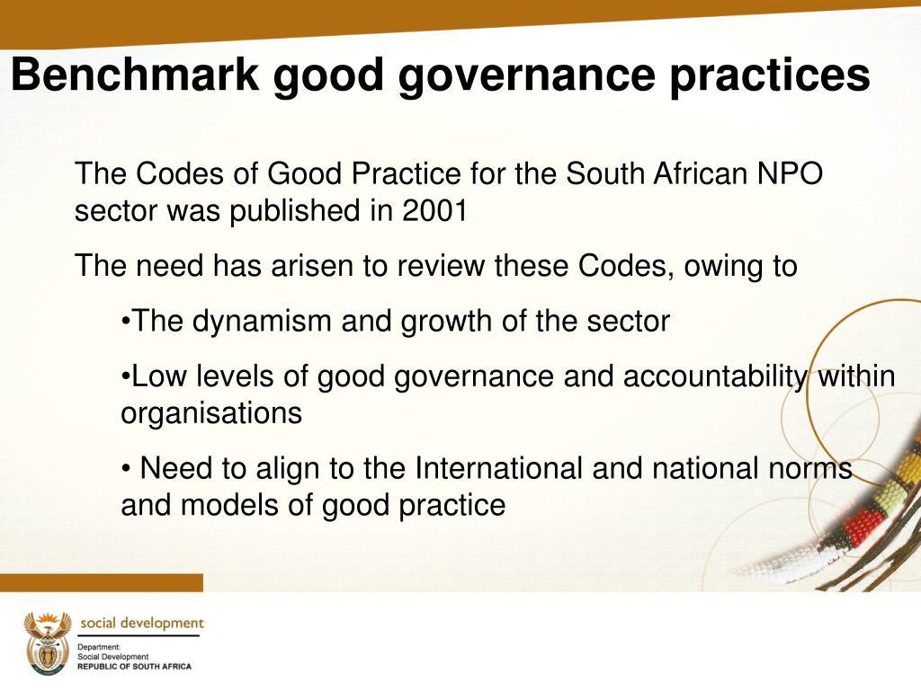 Benchmark good governance practices