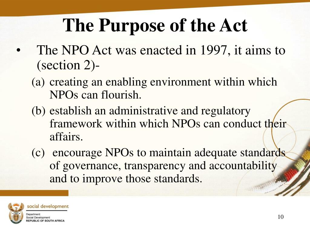 The Purpose of the Act
