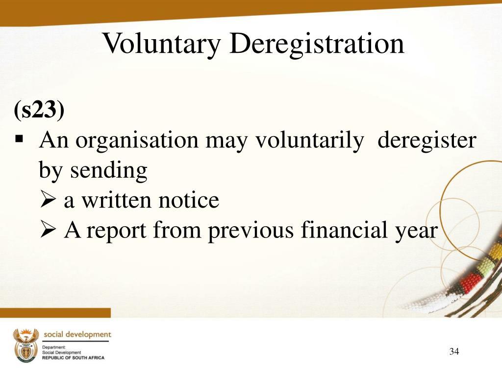 Voluntary Deregistration