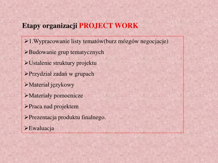 Etapy organizacji